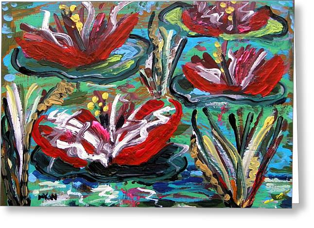 Lotus And Grasses Greeting Card by Mary Carol Williams