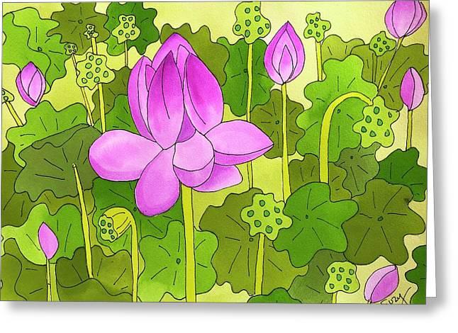 Lotus And Waterlilies Greeting Card