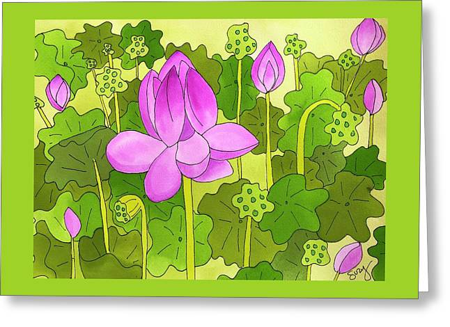 Lotus And Waterlilies Greeting Card