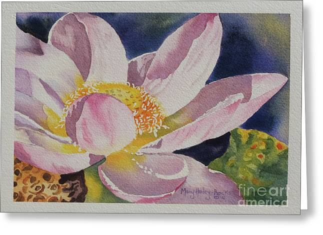 Greeting Card featuring the painting Lotus Bloom by Mary Haley-Rocks