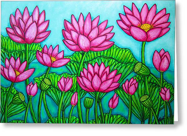 Lotus Bliss II Greeting Card by Lisa  Lorenz