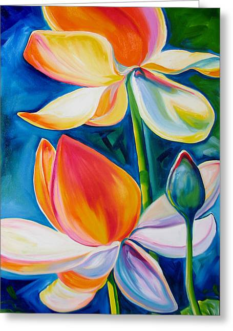Lotus Blossoming Greeting Card by Marcia Baldwin