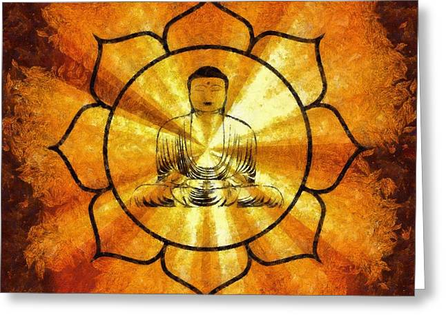Lotus Buddha By Sarah Kirk Greeting Card