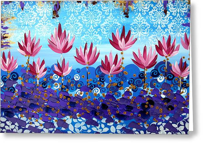 Lotus Dreaming Greeting Card by Cathy Jacobs