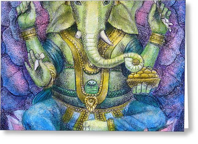 Lotus Ganesha Greeting Card by Sue Halstenberg