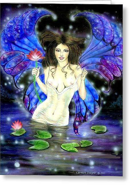 Lotus Goddess Fairy Greeting Card by Carmen Daspit