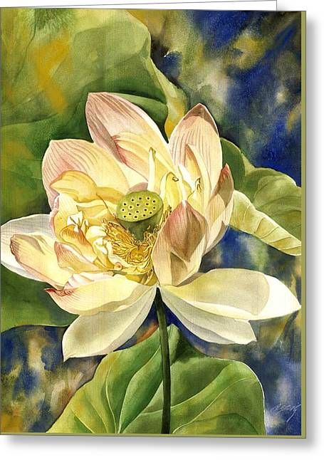 Greeting Card featuring the painting Lotus In Blooms by Alfred Ng