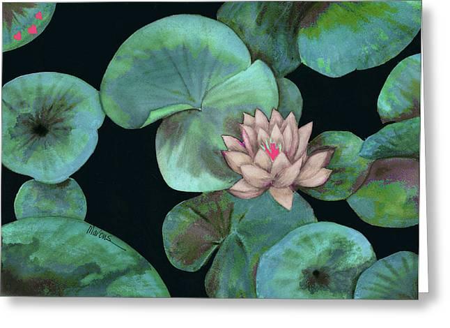 Lotus Light Aqua Greeting Card by Leslie Marcus