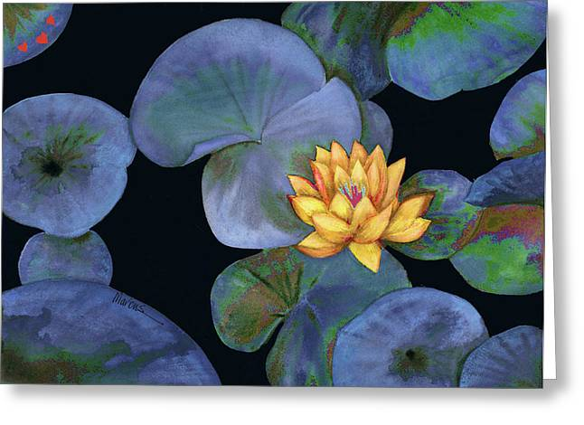 Lotus Light Lapis Greeting Card by Leslie Marcus