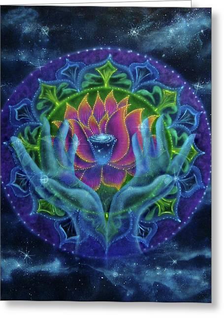 Lotus Of Light Greeting Card by Deborah Wright