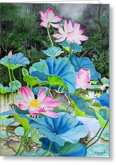 Lotus Pond 2 Greeting Card by Vishwajyoti Mohrhoff