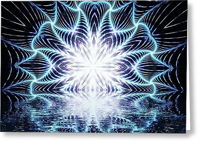 Lotus Rising #kaleidoscope #mandala Greeting Card by Michal Dunaj