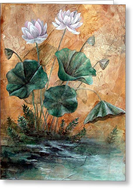 Lotus Greeting Card by Sandy Clift