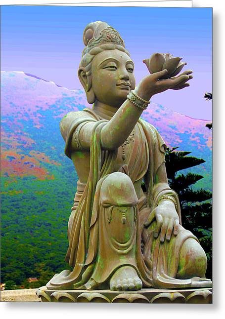 Lotus Statue Greeting Card by Adina Campbell