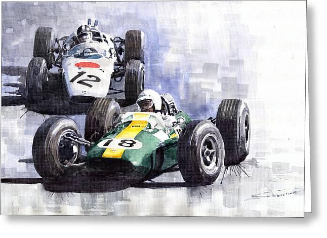 Honda Greeting Cards - Lotus vs Honda Mexican GP 1965 Greeting Card by Yuriy  Shevchuk