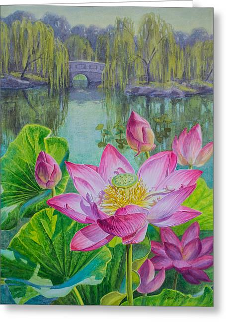 Lotuses In A Chinese Garden 1 Greeting Card