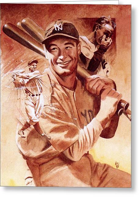 Lou Gehrig Greeting Card by Ken Meyer jr