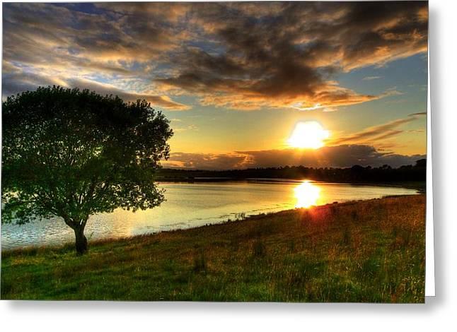 Lough Erne Sunset Greeting Card by Kim Shatwell-Irishphotographer
