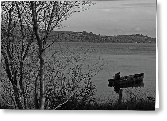 Fishing On Lough Fea Greeting Card