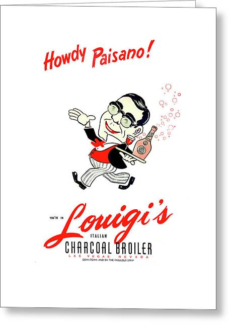 Louigis Las Vegas 1960 Greeting Card