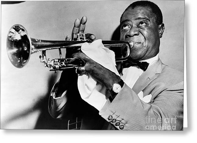 Bows Greeting Cards - Louis Armstrong 1900-1971 Greeting Card by Granger