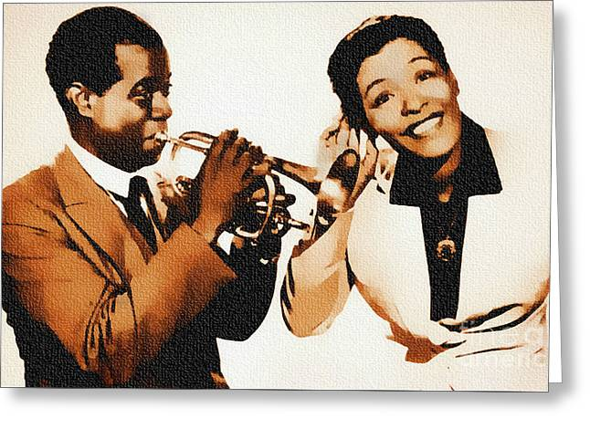 Louis Armstrong And Billie Holiday Greeting Card by Ian Gledhill