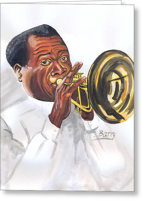 Greeting Card featuring the painting Louis Armstrong by Emmanuel Baliyanga