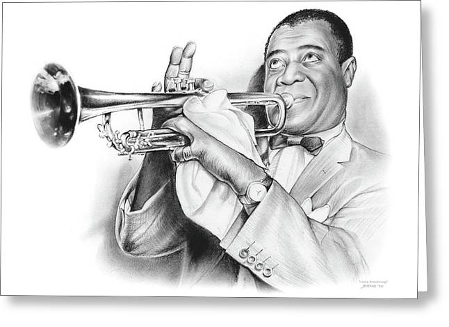 Louis Armstrong Greeting Card by Greg Joens