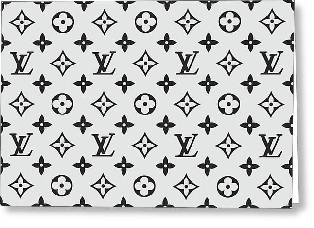 Louis Vuitton Pattern Lv 07 Grey Greeting Card