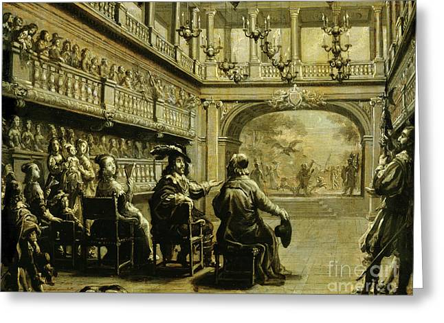 Louis Xiii, Anne Of Austria And Cardinal Richelieu At The Production Of Mirame Greeting Card by Jean de Saint Igny