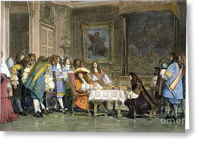 Louis Xiv & Moliere Greeting Card by Granger