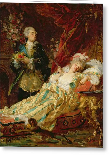 Louis Xv And Madame Dubarry Greeting Card by  Gyula Benczur