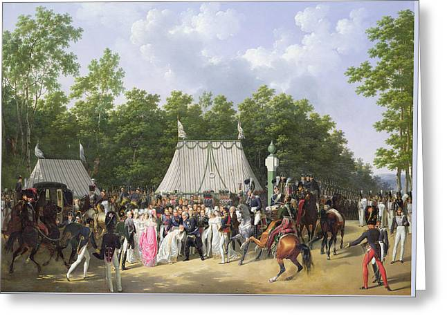 Louis Xviii Greeting The Princess Of Sicily Greeting Card by Hippolyte Lecomte