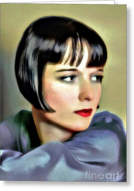 Louise Brooks, Vintage Actress, Digital Art By Mary Bassett Greeting Card