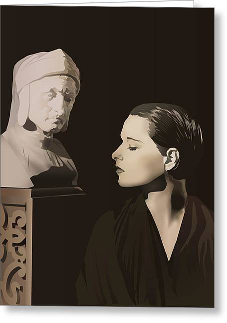 Louise Brooks With Bust Of Dante Alighieri  Greeting Card by Vintage Brooks