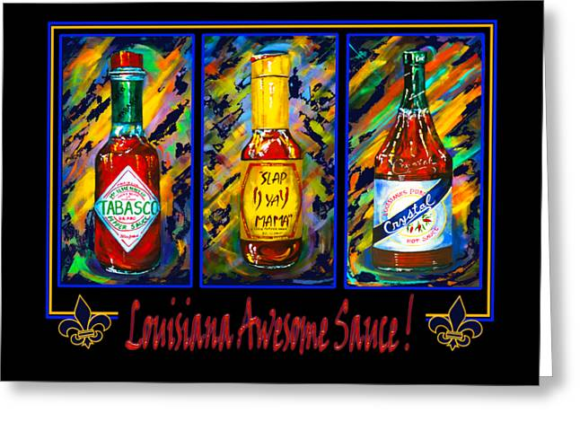 Louisiana Awesome Sauces Greeting Card by Dianne Parks