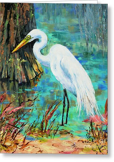 Louisiana Male Egret Greeting Card by Dianne Parks