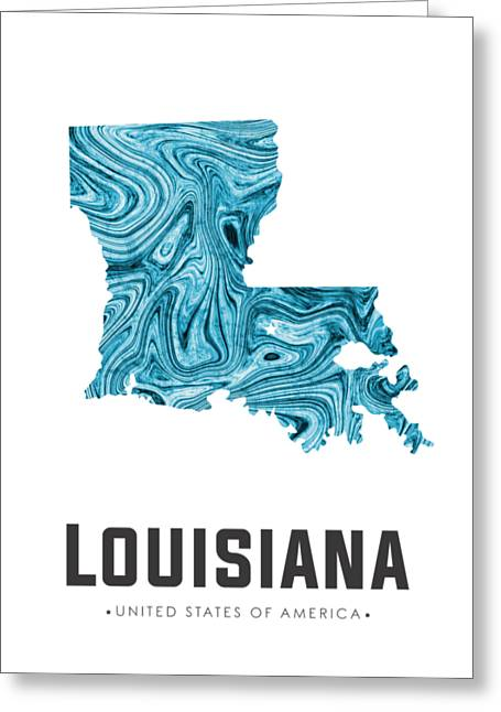 Louisiana Map Art Abstract In Blue Greeting Card