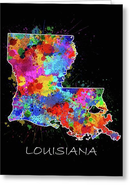Louisiana Map Color Splatter 2 Greeting Card