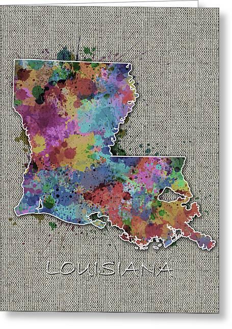 Louisiana Map Color Splatter 5 Greeting Card
