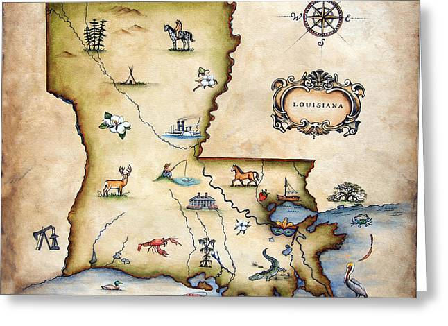Antique Map Paintings Greeting Cards - Louisiana Map Greeting Card by Judy Merrell