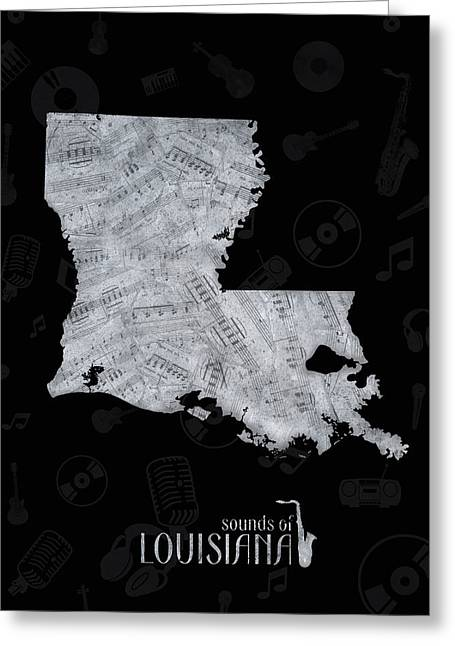 Louisiana Map Music Notes 2 Greeting Card