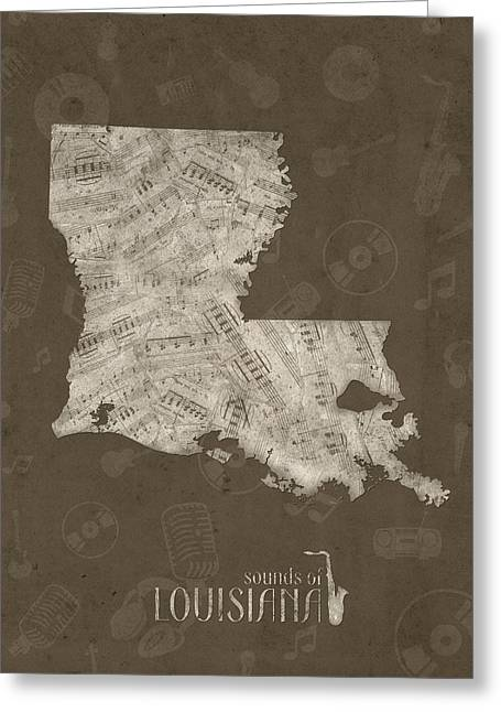 Louisiana Map Music Notes 3 Greeting Card