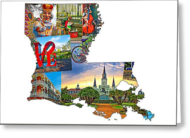 Louisiana Map - New Orleans Greeting Card