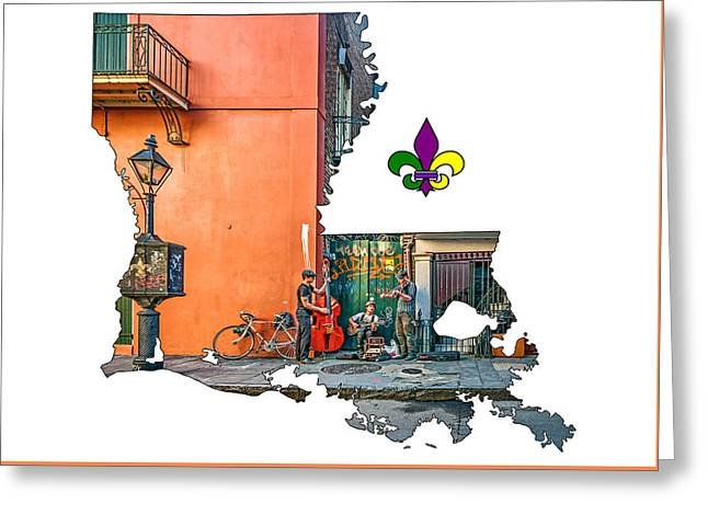 Louisiana Map - The French Quarter Greeting Card