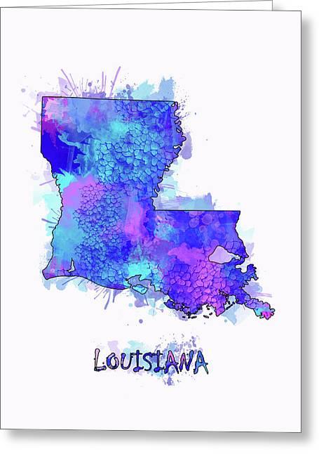 Louisiana Map Watercolor 2 Greeting Card