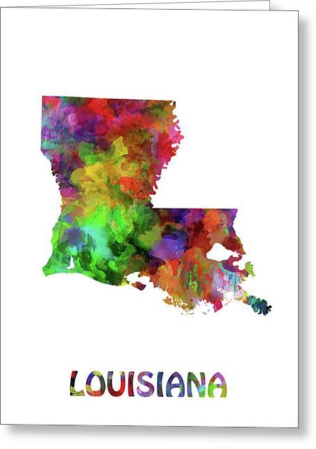 Louisiana Map Watercolor Greeting Card