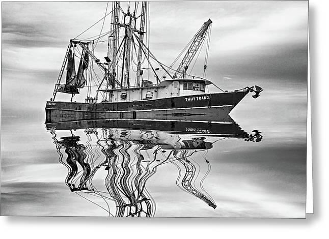 Louisiana Shrimp Boat 4 Bw Greeting Card