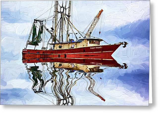 Louisiana Shrimp Boat 4 - Impasto Greeting Card