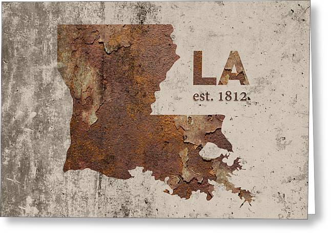 Louisiana State Map Industrial Rusted Metal On Cement Wall With Founding Date Series 017 Greeting Card